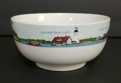 Vacation Land Soup / Cereal Bowl By Ll Bean Lighthouses Of Maine Scene