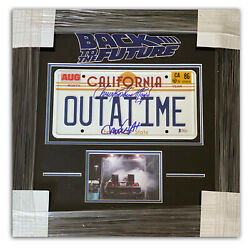 Lloyd Michael J Fox Back To The Future Signed Outatime License Plate Framed Bas