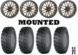 Kit 4 Itp Versa Cross Tires 35x10-18 On System 3 St-3 Bronze Wheels Can
