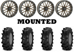 Kit 4 Itp Cryptid Tires 36x10-18 On System 3 St-3 Bronze Wheels Hp1k