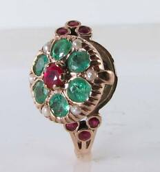 Locket 9k 9ct Rose Gold Ruby Emerald Pearl Art Deco Ins Poison Ring Free Resize