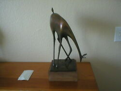 Douglas Purdy Bronze Sculpture Deer Signed 17.25h Overall. Very Good Condition