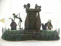 Nightmare Before Christmas Jack And Sally Snowglobe Bookends Snow Globe Book Ends