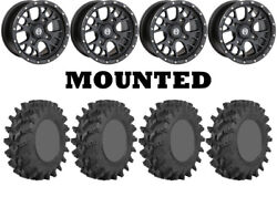 Kit 4 Sti Outback Max Tires 32x10-14 On Moose 545x Black Wheels Can