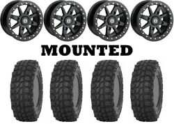 Kit 4 Sti X Comp Atr Tires 32x10-14 On Moose 544x Beadlock Black Wheels Fxt