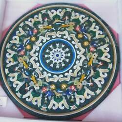 30and039and039 Green Marble Table Top Dining Center Inlay Lapis Mosaic Home Decor Round