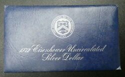 1972-s Eisenhower Uncirculated Silver Dollar With Envelope And Coa - B