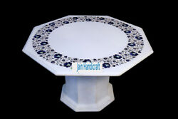 24 White Marble Table Top Coffee Dining Inlay Lapis Mosaic Home With Stand H9
