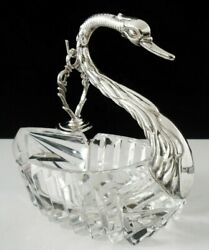 Novelty Silver Cut Glass Swan Ash Tray With Pipe Tamper London 1967