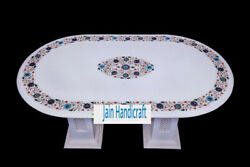 4'x2' White Marble Table Top Coffee Dining Inlay Lapis Mosaic With Stand H18