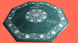 4' Green Marble Table Top Coffee Dining Inlay Mosaic Lapis Home Decor F121