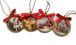 Set 4 Victorian Style Christmas Gift Ornaments Wood Decor Tree Toy Decorations