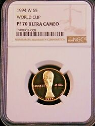 1994-w Us Gold 5 World Cup Proof Ngc Pf70 Ultra Cameo Just Graded Lm 191