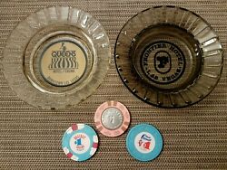 Lot Of 5 Vintage Las Vegas 1 Casino Circulated Chips And Hotel Casino Ashtrays