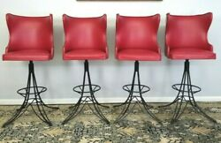 Vintage Mid-century Deluxe Club Stools 4 Button Tufted High Back Nail Head Rare