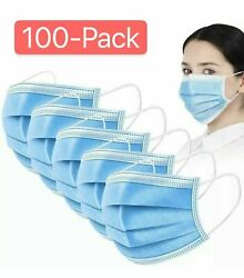 100 PCS Blue Face Mask Mouth amp; Nose Protecting Families Easy Safe