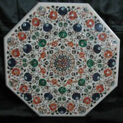 36and039and039 White Marble Coffee Center Table Top Decorative Inlay Malachite H14