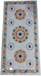 5and039x2.5and039 White Marble Coffee Center Table Top Inlay Pietra Dura Home Decor H30