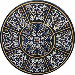 42 Black Marble Coffee Center Table Top Stone Handmade Inlay Art Home S27