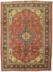 Vintage Floral Geometric Oriental Rug 8and039x11and039 Red/blue Hand-knotted Wool Pile