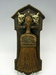 Vintage Ornawood Wall Hanging Crumb Brush With French Bulldog Boston Terrier