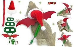 Santa Hat Scarf Set with Lizard Leash 3 Size Harness Pack for Bearded Dragons