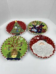Jc Penny Home Collection Set 4 Christmas Plates 9 Inch Santa Rudolph Etc