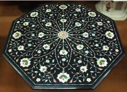 24 Black Marble Coffee Center Table Top Stone Handmade Inlay Art Home S34