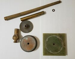 Vintage Floor Lamp Base With Green Onyx And Artistic Brass - Replacement Parts