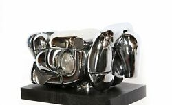 Miguel Berrocal Mini-maria Nickel Plated 23 Element Puzzle Sculpture In Box Wi