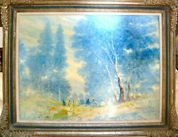 Stefanos Sideris, Landscape With Blue Trees, Oil On Canvas