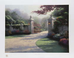 Thomas Kinkade Summer Gate Offset Lithograph Signed And Numbered In Marker