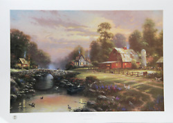 Thomas Kinkade, Sunset At Riverbend Farm, Offset Lithograph, Signed And Numbered