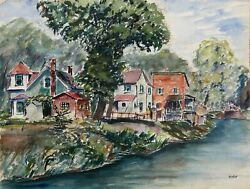 Max Kuehne, Lakeside Houses, Double-sided Watercolor, Signed L.r.