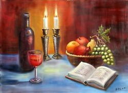 N Zilka, Still Life With Candles, Oil On Canvas, Signed