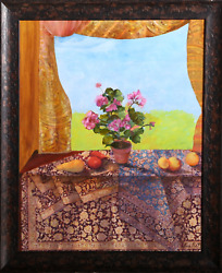 Sylvia Roth, Still Life With Persian Rug, Oil On Canvas