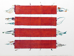 Emily Fuller, Days Spring Red, Mixed Media Collage On Paper, Signed And Dated L.