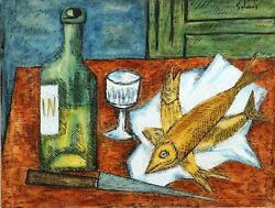 Laurent Marcel Salinas, Fish With Wine, Gouache On Paper, Mounted To Board