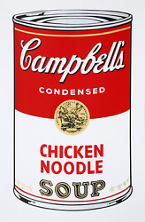 Andy Warhol Campbelland039s Soup Can Chicken Noodle Screenprint Stamped In Blue V