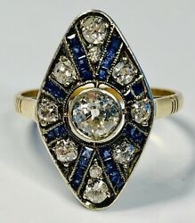 Antique 19th Century Edwardian 14k Gold With Diamonds And Sapphires Ring Size 7.25