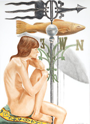 Philip Pearlstein Nude Model With Banner And Fish Weathervanes Lithograph Sig