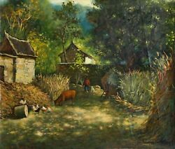 Hua You Zhong On The Farm Oil On Canvas Signed And Dated