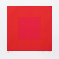 Richard Anuszkiewicz Summer Suite Red With Gold Iv Intaglio Etching And Aqua