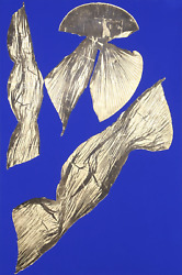 Lynda Benglis, Dual Nature Blue I, Lithograph With Gold Leaf On Hand Tinted Pa