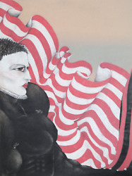 Jon Robyn, Woman In Elizabethan Collar With Flag, Charcoal And Pastel On Paper,