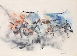 Don Fink, Untitled, Watercolor On Paper, Signed