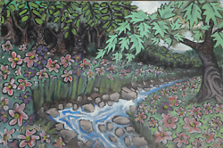 N. Berube Forest Creek Acrylic On Canvas Signed L.l.