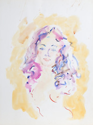 Wayne Ensrud, Nude With Purple Hair, Watercolor And Gouache On Paper, Signed L.r