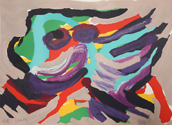 Karel Appel Fantastic Animal Lithograph On Arches Signed And Dedicated In Pen
