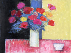 Jose Canes Still Life With Flowers And Bowl Acrylic And Pastel On Paper Signe